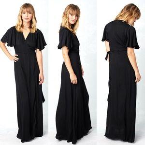 Lovestitch Elena Wrap Dress Black Soft Long Maxi